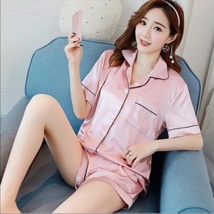 Other - Silk/Satin Shorts Sleep Wear Set in Pink